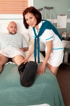 Nurse Kim heals the sick, bonks the astronomical hard-on